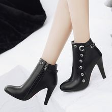 Big Size 9 10 11-17 boots women shoes ankle boots for women ladies boots shoes woman winter Metal decoration(China)