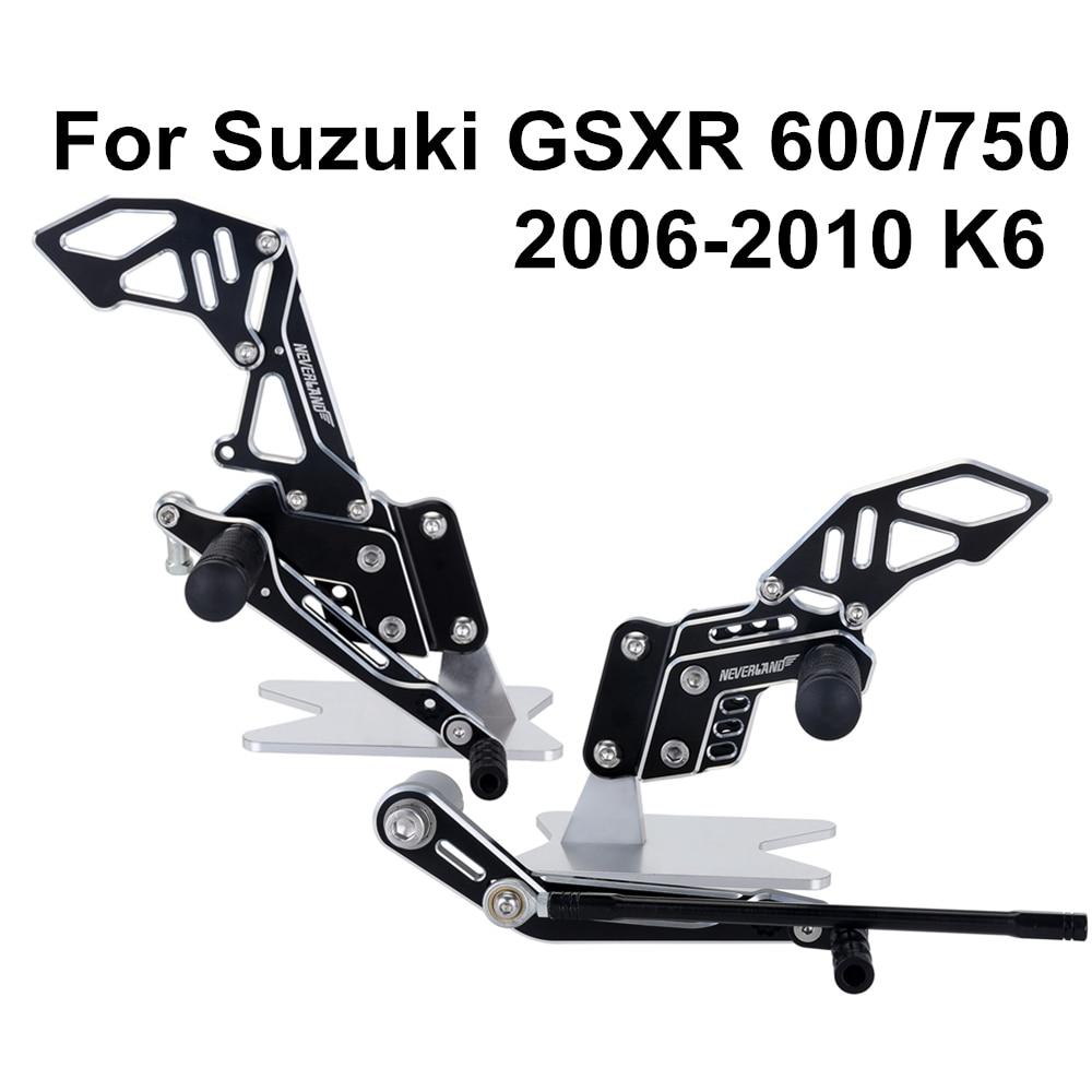 Black Silver Basic Design CNC Motorcycle Reat Footrest Foot Pedal Pegs Set For Suzuki GSX-R 600 750 GSX-R GSXR D40