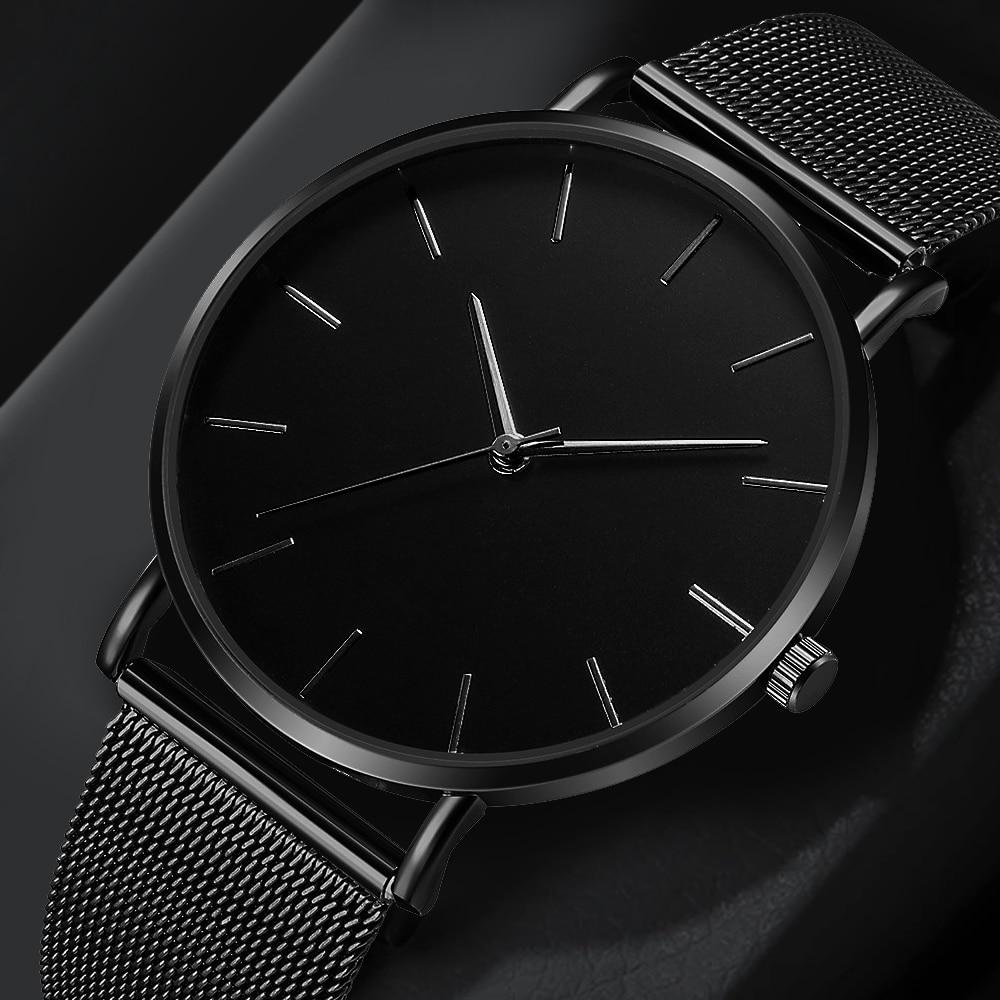 Fashion Casual Watch Womens Metal Hour Reloj Mujer Quartz Wristwatch Simple Montre Femme Mesh Black Stainless Steel Bracelet saa