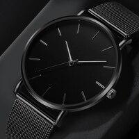 Moda relógio casual das mulheres de metal hora reloj mujer quartzo relógio de pulso simples montre femme malha preto aço inoxidável pulseira saa|Relógios femininos| |  -