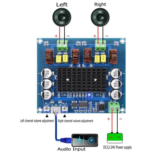 XH A303 Upgraded version Preset op amp TPA3116D2 Digital power amplifier board TPA3116 Stereo 120W+120W Audio Amplifier plate