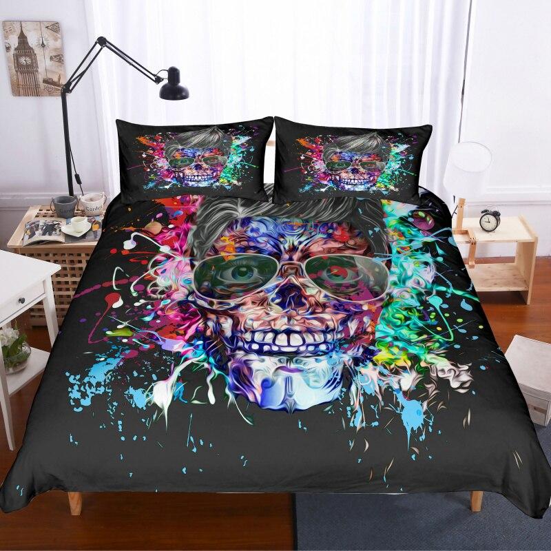 Fanaijia Sugar Skull Duvet Cover Set With Pillowcase Skull Bedding Set Luxury Queen Bed Set Full Size Comforter Sets