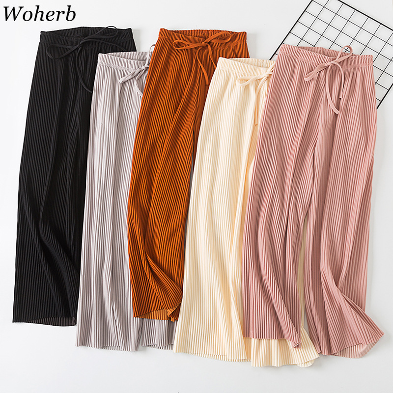 Woherb 2019   Wide     Leg     Pants   Korean Casual Bandage Chiffon   Pant   Autumn Loose Elastic High Waist Solid Pleated   Pants   Pantalon Femme
