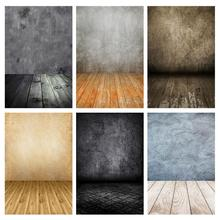 Mur gris plancher en bois décors photographiques vinyle tissu Photo Studio Photobooth arrière plan pour enfants bébé animal jouet Photocall