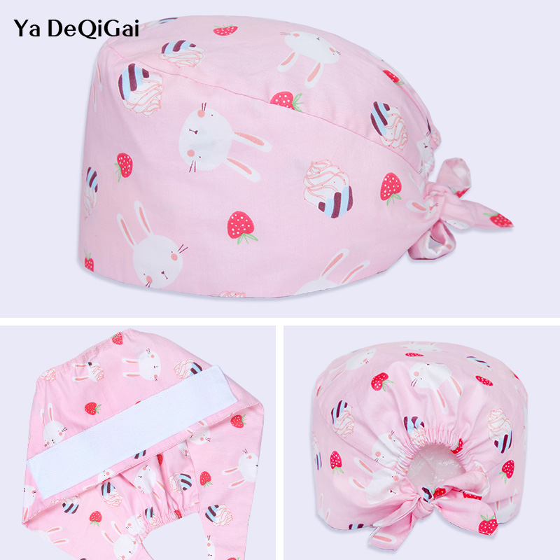 Adjustable Men And Women Operating Room Hat Pet Hospital Plastic Surgery Salon Work Cap Dental Clinic Printing Doctor Nurse Caps