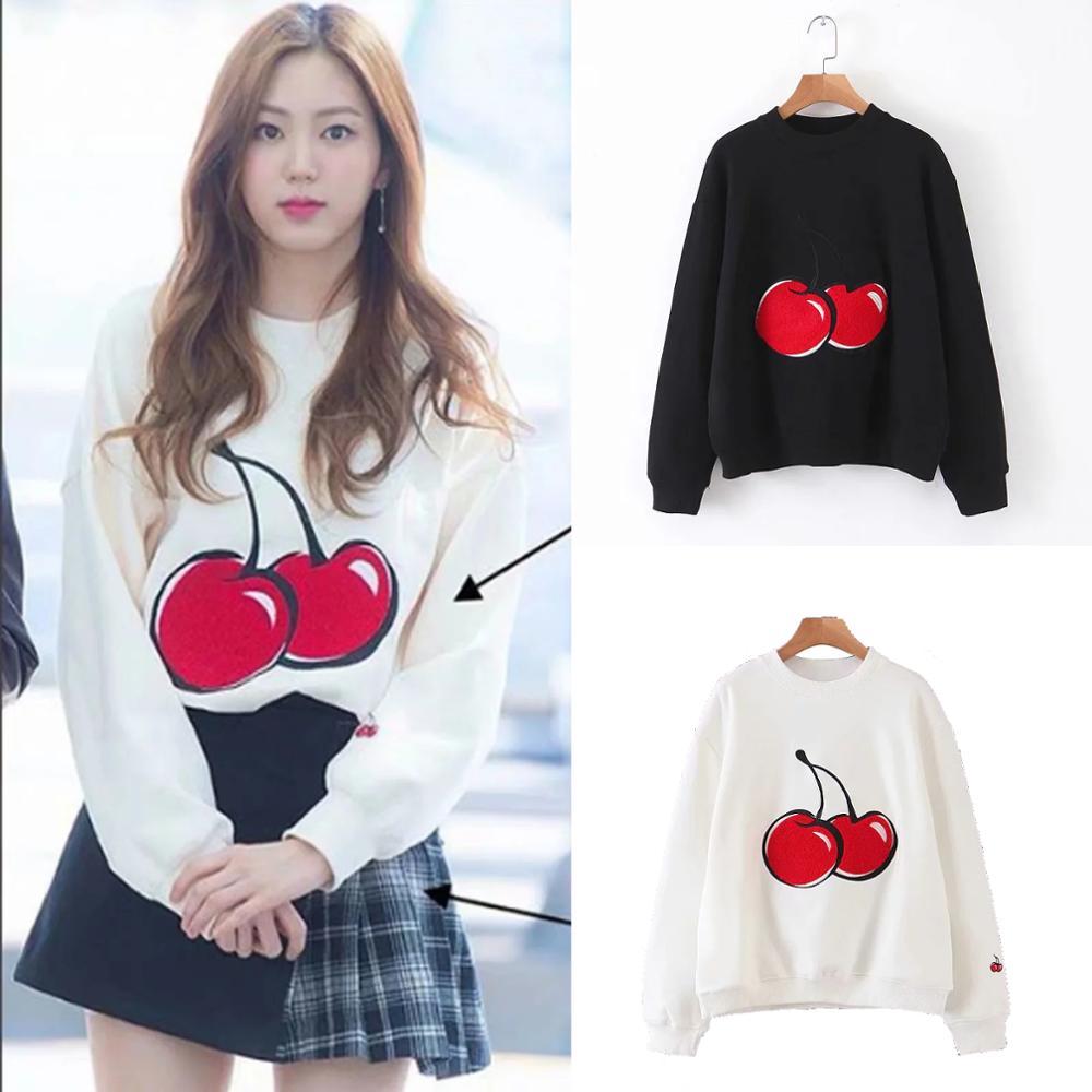 Cherry Embroidery Sweatshirt Women Clothing Sports Warm Solid Black Top Coat 2019 Autumn Winter  Jumper Pullover Streetwear