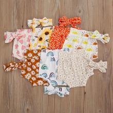 Baby Shorts Bloomers Summer Headband Floral High Elastic-Waist Casual