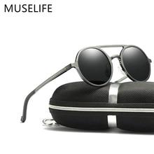 MUSELIFE מותג אלומיניום מגנזיום מקוטב משקפי שמש 2020 משקפי שמש גברים של עגול נהיגה פאנק משקפיים צל צוהר masculino
