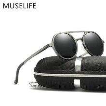 MUSELIFE marka okulary przeciwsłoneczne polaryzacyjne ze stopu aluminium i magnezu 2020 okulary męskie okrągłe jazdy punk okulary cień Oculus masculino