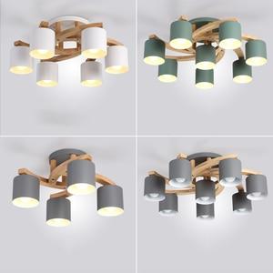 Image 1 - Madeira nórdica E27 Lâmpada Do Teto Simples Arte de Ferro Luz de Teto Quarto Sala lustre de Jantar Cozinha & Bar luzes de teto avize