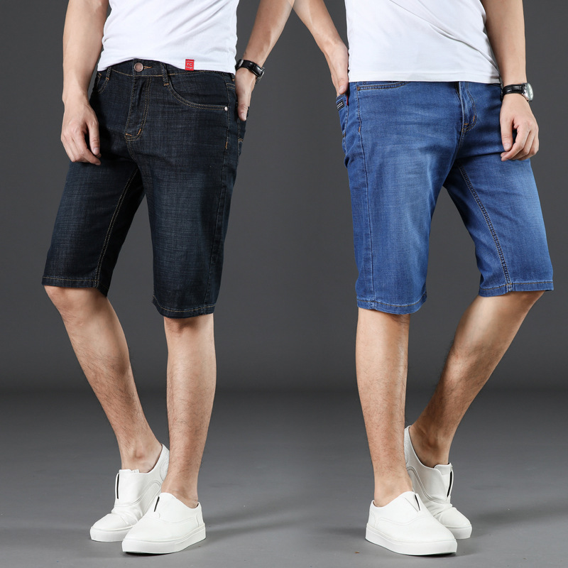 Denim Shorts Men's 2018 Summer Thin Section Elasticity Youth Capri Pants Slim Fit Straight-Cut Large Size Cowboy Shorts Men's