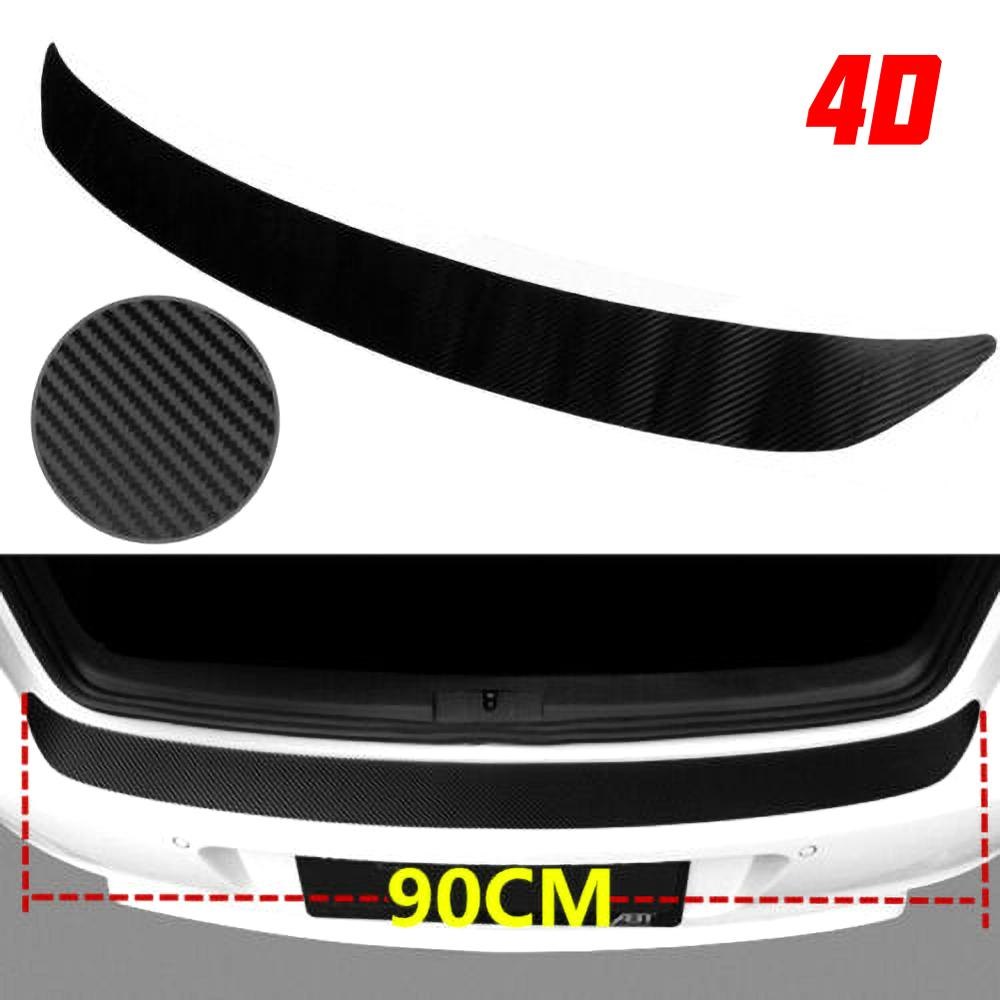 4D Carbon Fiber Rear Bumper Strip Vinyl Decal Protector Plate Rubber Cover Guard Pad Moulding Trim car stickers and decals