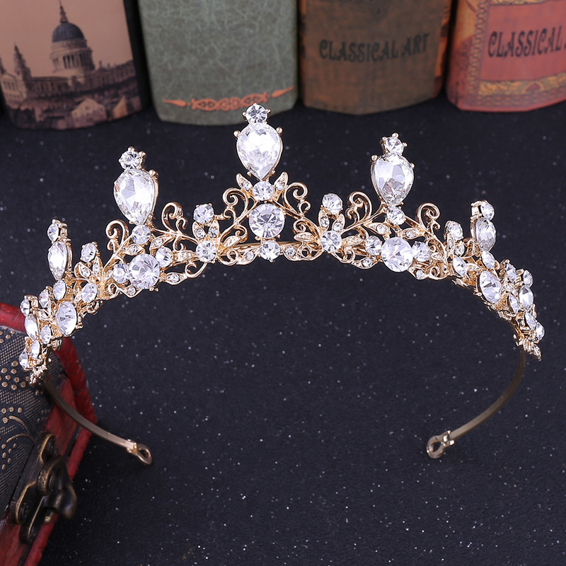 2PCs Princess Crown Wedding Tiara for Bride Diadem for Girls Bridal Hair Accessories Crystal Headband Stylish Ornaments Jewelry in Hair Jewelry from Jewelry Accessories