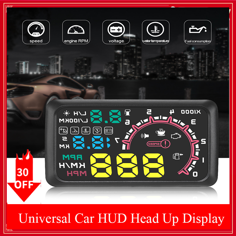 "Universal 5.5 Inch Car HUD Head Up Display OBDII Interface 5.5"" KM/h & MPH Speed Warning System on-board computer OBD2"