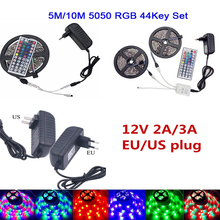 цена на RGB Led Light 5050 12V LED Strip 5M 10M DC Ruban Led RGB Waterproof LedStrip Light Neon 12V Power Adapte Remote Controller Kit