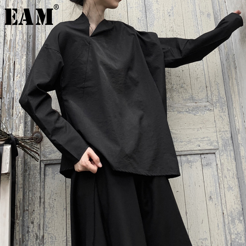 [EAM] Women Black Big Size Asymmetrical Blouse New Skew Collar Long Sleeve Loose Fit Shirt Fashion Spring Autumn 2020 19A-a603