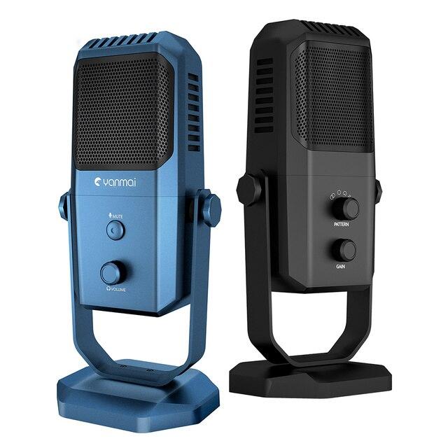 Профессиональный USB микрофон для студийной записи, конденсаторный микрофон с четырьмя направлениями для игрового вещания, микрофон для караоке