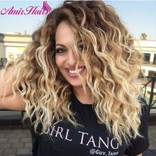 Amir Natural Wave Synthetic Wigs Blonde Brown Hair Medium Length Part