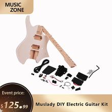 Muslady Unfinished DIY Elektrische Gitarre Kit Linde Korpus Ahorn Holz Griffbrett Gitarre Neck Ohne Kopfplatte cheap NONE CN (Herkunft) Electric Guitar DIY Kit Basswood Maple 2 Dual-coil Pickup 3 Ways