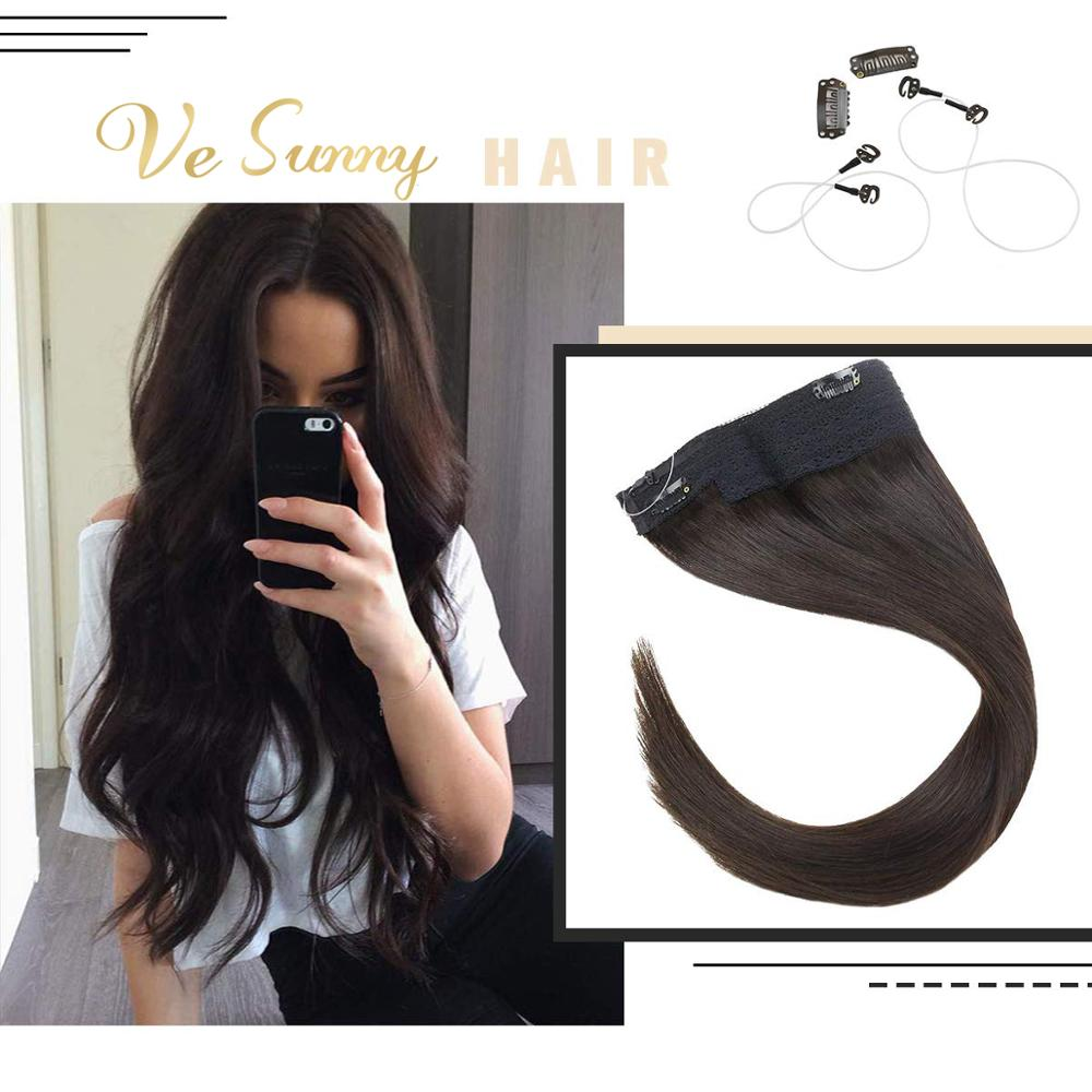 VeSunny One Piece Halo Hair Extensions Invisible Fishing Line 100% Real Human Hair Flip In Wire With 2 Clips On Dark Brown #2