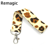 Leopard Print Wristlet hand Strap Lanyard keychain Mobile Phone ID Badge Holder Key Chain Keyring cosplay Accessories Gift
