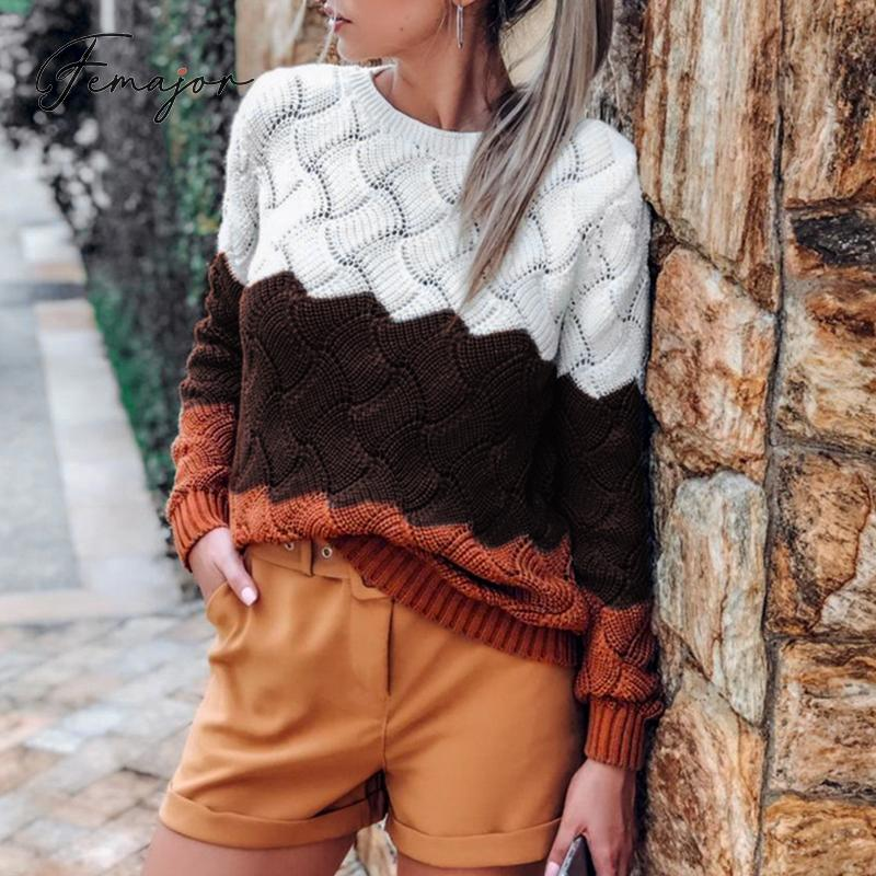 Femajor Fall 2019 Women Winter Jumpers Fashion Color Block Pullovers Female Casual High Waist Hollow Out Knitted Tops Sweater