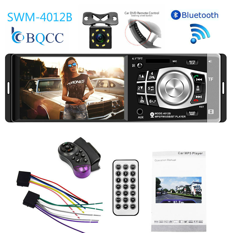 4'' TFT Screen 1 Din Car Radio Audio Stereo MP3 Player Bluetooth with Rearview Camera Remote Control USB FM image