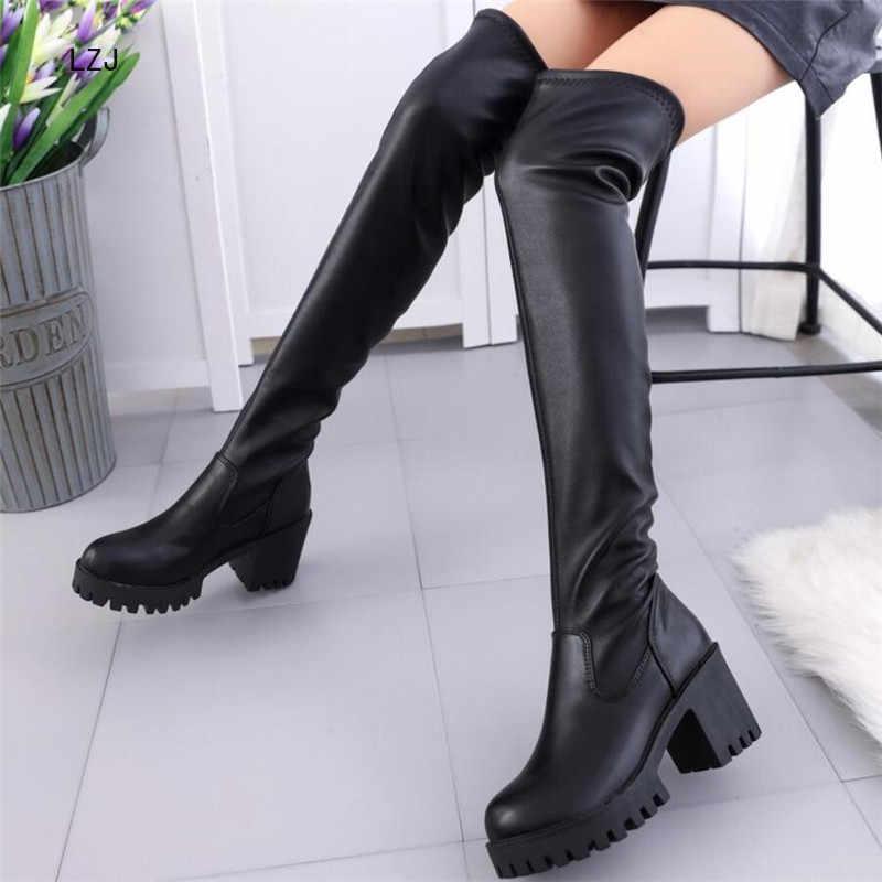 LZJ 2019 שחור נעלי אישה ארוך מגפי ירך גבוהה מגפיים גבוהה עקבים Botines Mujer בוטה Feminina נעלי מרטין מגפי נשים