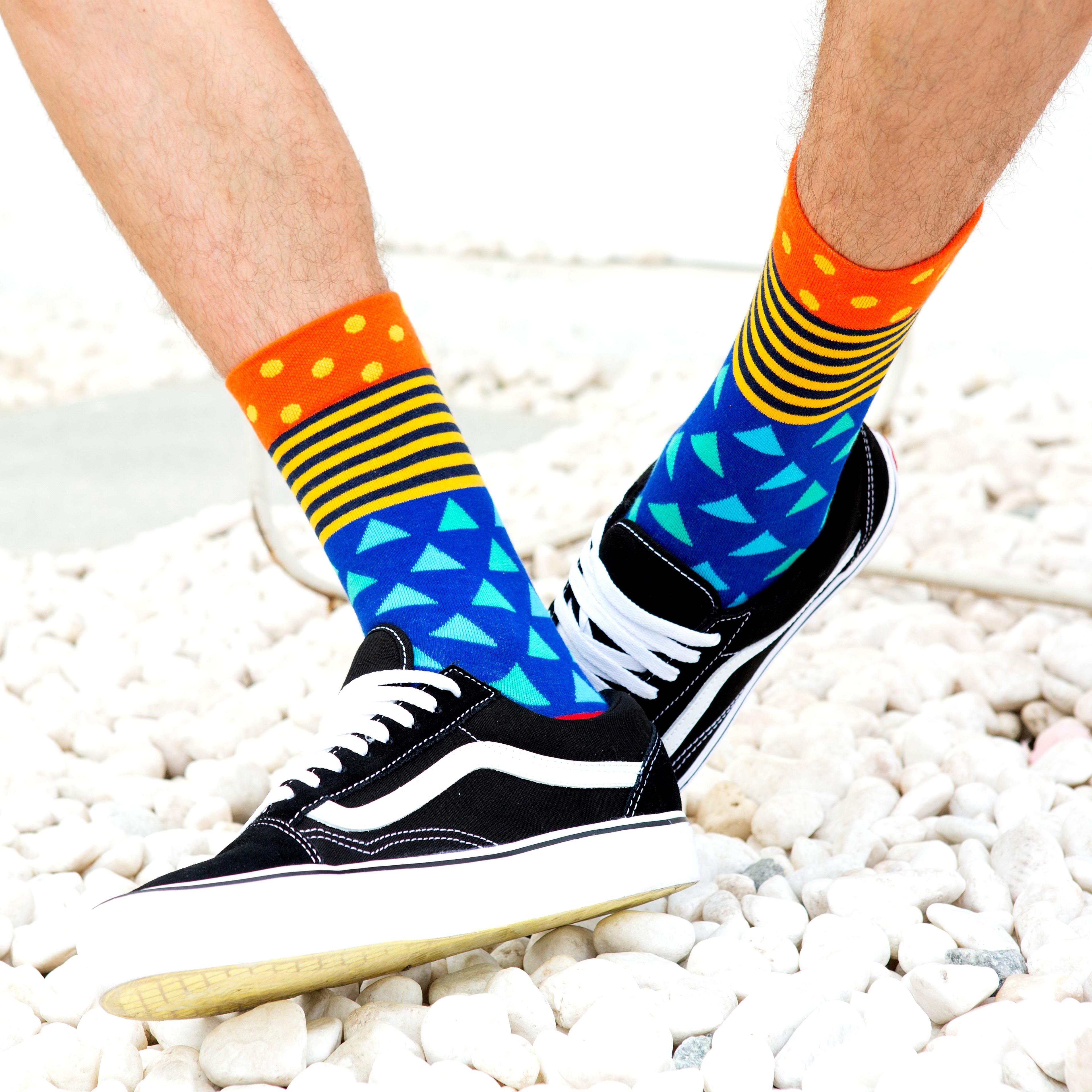 5 pair//lot colourful mens socks cotton funny crew dress socks striped optic fill