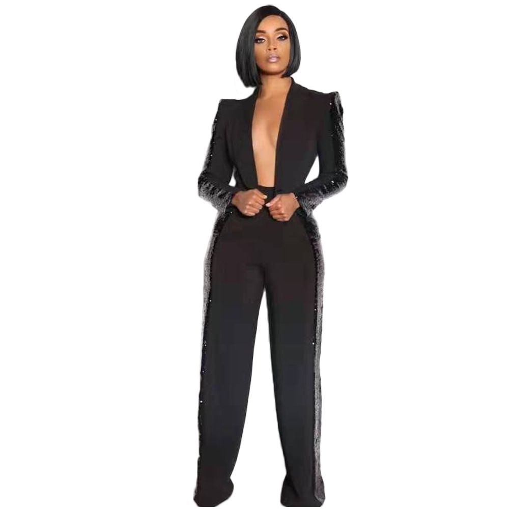 Echoine Black Sequin Blazer Set Wide Leg pants 2 Piece Set suit women Sexy Elegant Ladies Business Work Wear OL Blazer femme