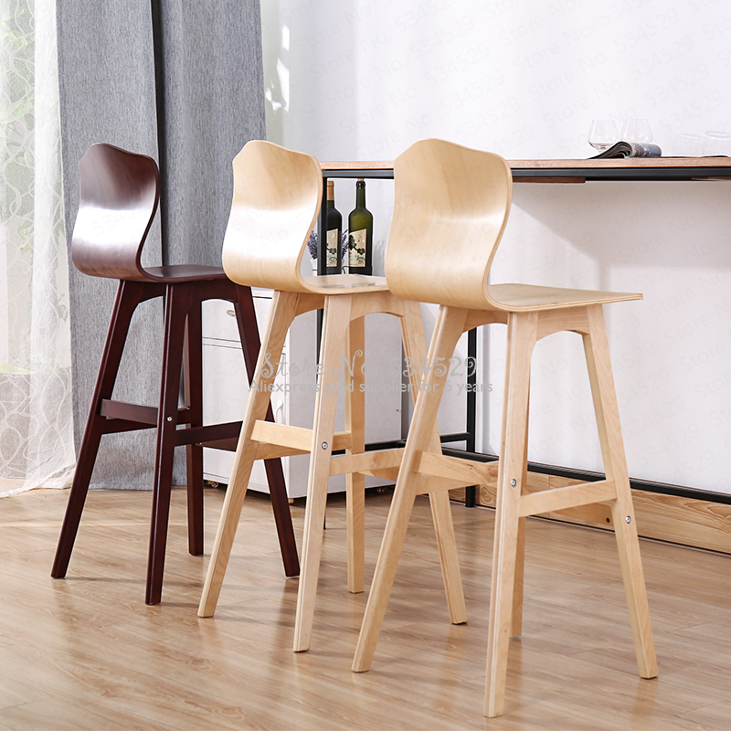30%Solid Wood Bar Stool Nordic Creative High Back Chair Bar High Stool Dining Chair High Chair Modern Minimalist Front Bar Chair