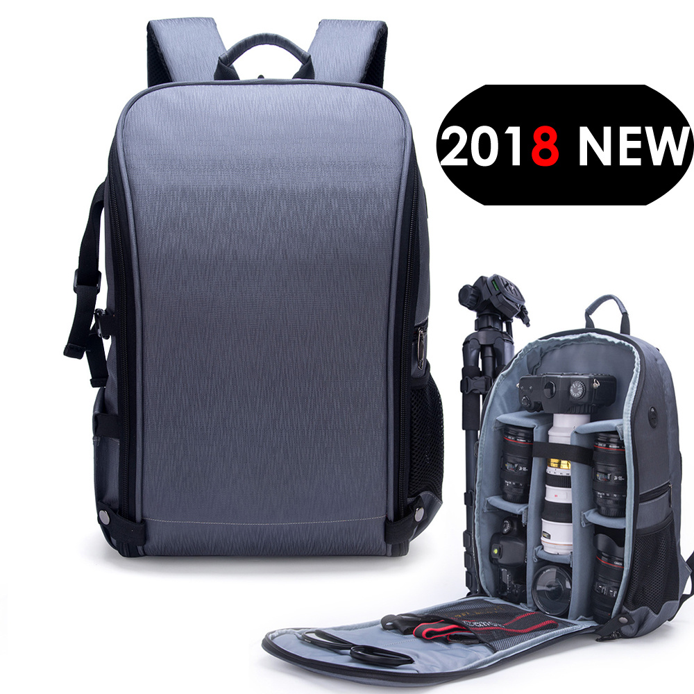 "Photo Shoulders Backpack Waterproof Nylon Case fit 15.6"" Laptop Bag w USB Port for Canon Nikon Sony SLR Photography Lens Tripod"