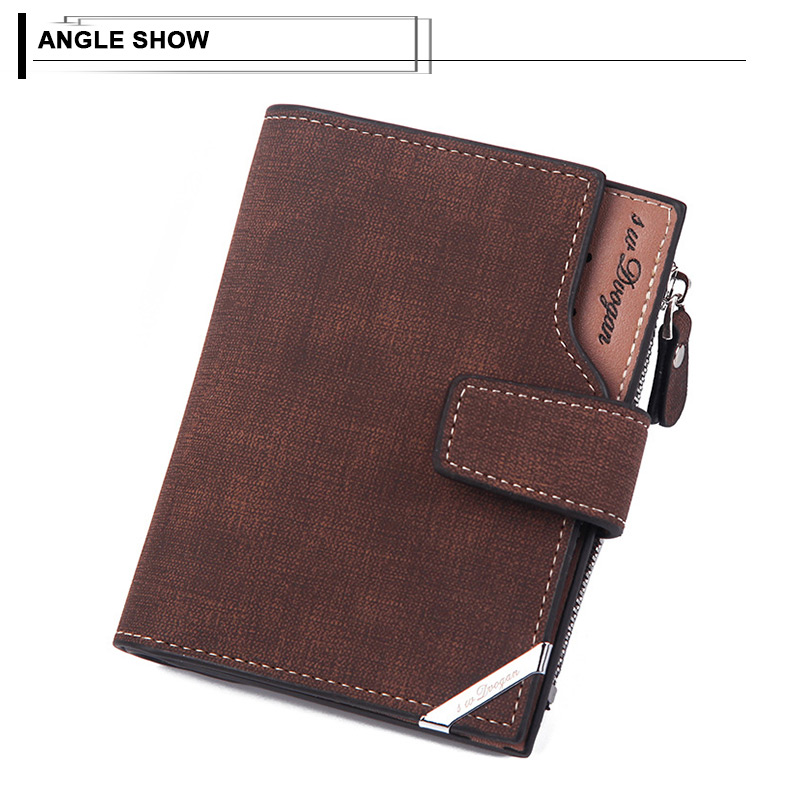 H3062344c74c249669bf685b319e58401W - New Business men's wallet Short vertical Male Coin Purse casual multi-function card Holders bag zipper buckle triangle folding