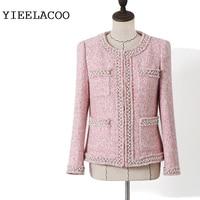 Pink Tweed Jacket Women Heavy Beading Ladiessmall Fragrant Wind Spring Spring/Autumn Winter Jacket One piece Coat Jacket