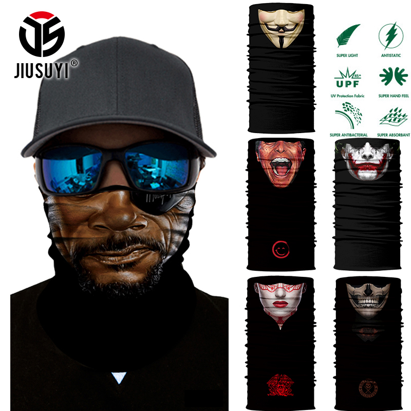 Scary Seamless Scarves Magic Tube Bandanas Deadpool Vampire Demon Head Men Skull Face Scarf Halloween Headband Bandana Headwear