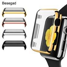 Gosear pełna ochrona skrzynki pokrywa skórzane etui folia zabezpieczająca ekran dla Apple Watch iWatch Wach iWach seria 1 2 3 38mm 42mm