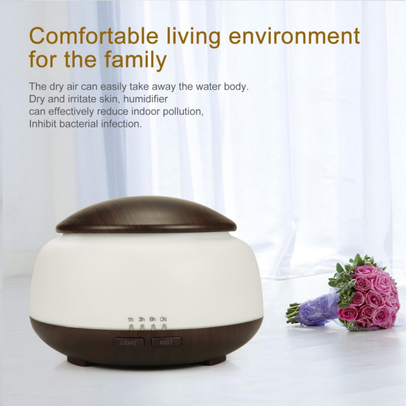 Wood Grain Essential Oil Diffuser Humidifier Aromatherapy Cool Mist Humidifier With Time Setting RGBW LED Night Light Waterless