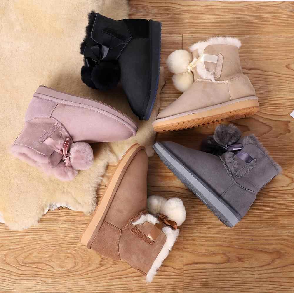 Tpcr Mới 2020 Da Cừu Da Lộn Da Shearling Len Lông Lót Nữ Mùa Đông Pom-Pom Cao Đến Mắt Cá Chân Ủng Hoàng Hôn giày Cho Bé Gái
