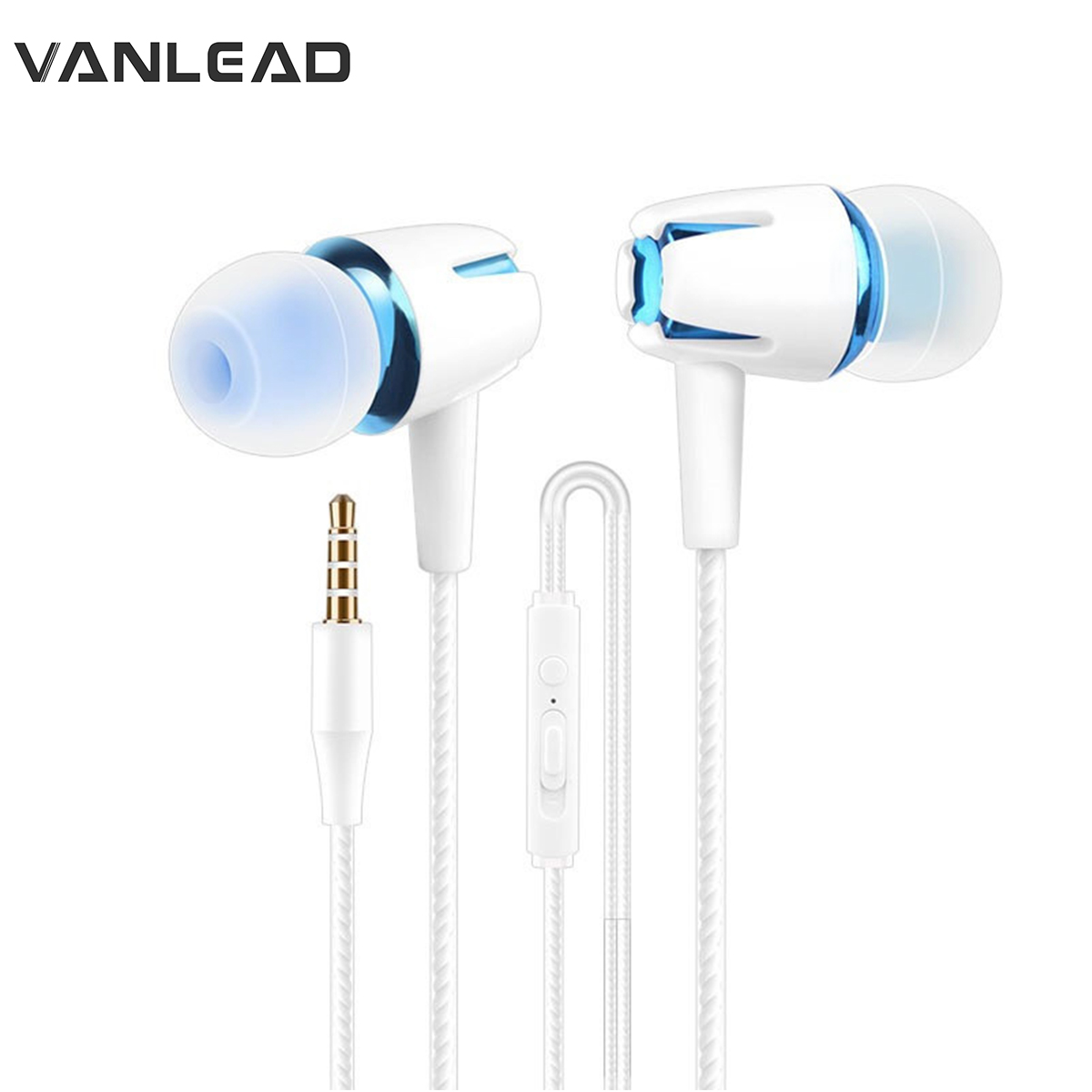 White Bass Stereo Earbuds Headset for IPhone Android Smart Cell Phones Transer Luminous In-ear Earphones with Mic /& Volume Control