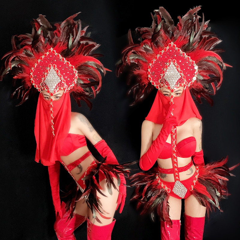 Personality Feather Bikini Red Body Suit New Performance Show Wear Carnival Festival Outfit NightClub DS GOGO Jazz Dance Costume