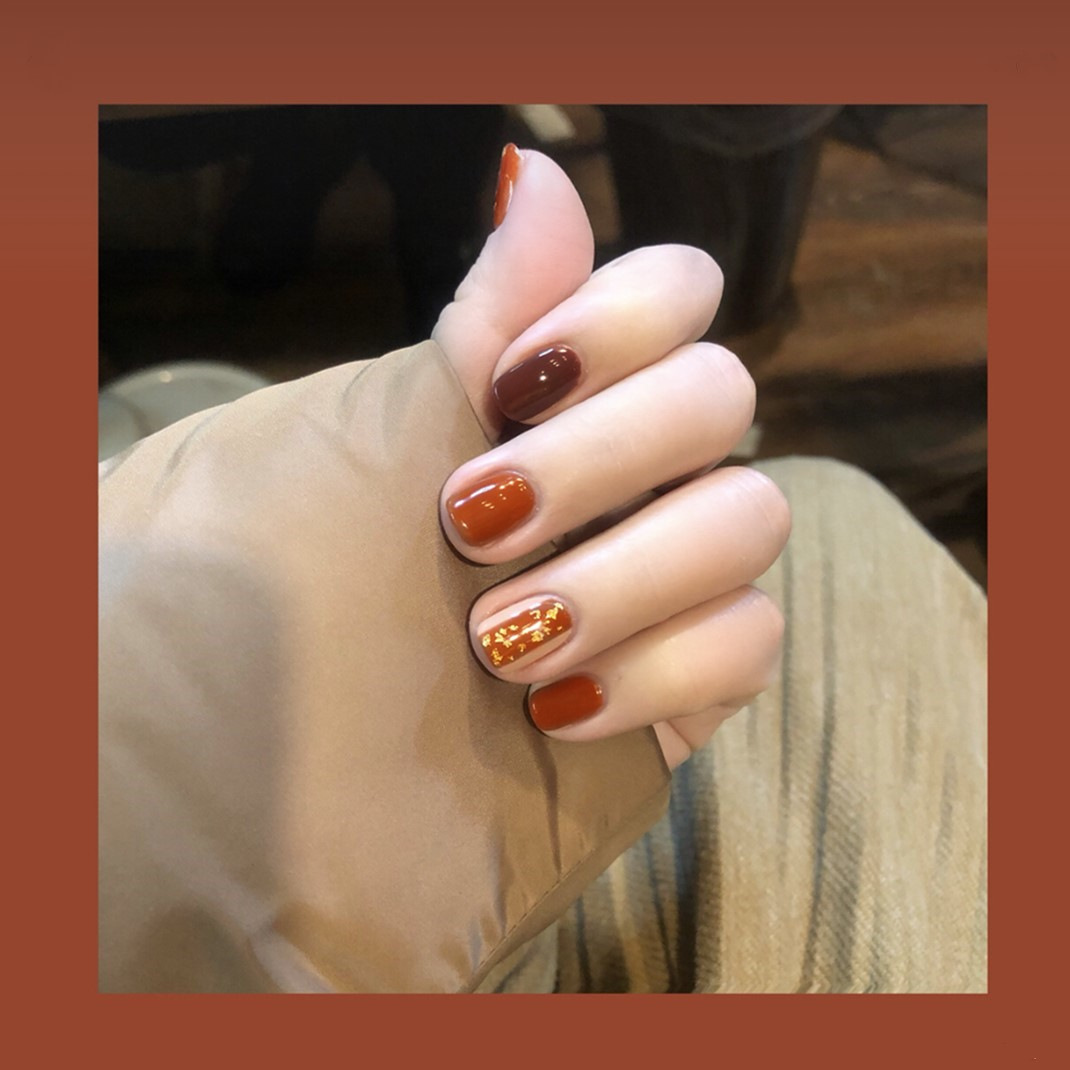607-Caramel Platinum Retro Literature And Art Online Celebrity Style INS-Style Solid Color Fake Nails Finished Product Wear Beau
