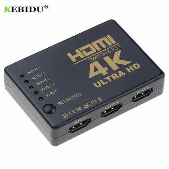KEBIDU Ultra HD 4K rozdzielacz HDMI 1x5 Port 3D 4K * 2K wideo przełącznik HDMI przełącznik HDMI 1 wejście 5 wyjście HUB z pilotem IR