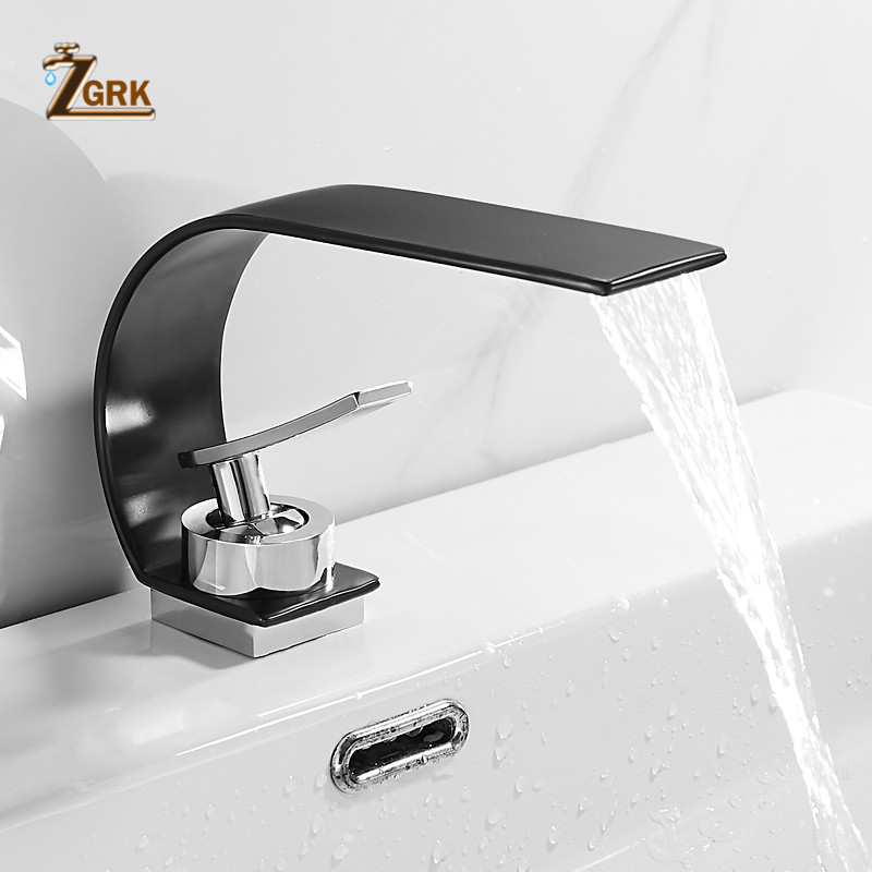 Basin Faucets Modern Bathroom Mixer Tap Brass Waterfall Washbasin Faucet Single Handle Elegant Crane For Bathroom(China)