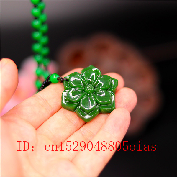 Natural Green Chinese Jade Flower Pendant Beads Necklace Fashion Charm Jadeite Jewelry Carved Amulet Gifts For Women Men