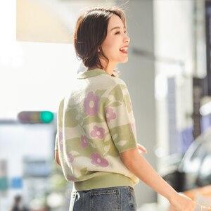 Image 2 - INMAN 2020 wiosna nowy nabytek literacki klapa kwiat pleciona żakardowa baza z krótkim rękawem sweter na drutach