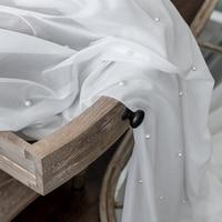 Luxo frisado puro branco tule cortina para sala de estar quarto bay janela varanda fio puro branco personalizado sheer painel zh028 & 30