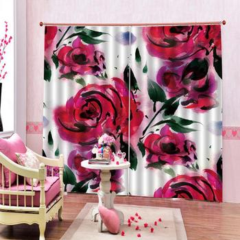 rose curtains  photo Blackout Window Drapes Luxury 3D Curtains For Living room Bed room Office Hotel Home wedding curtains