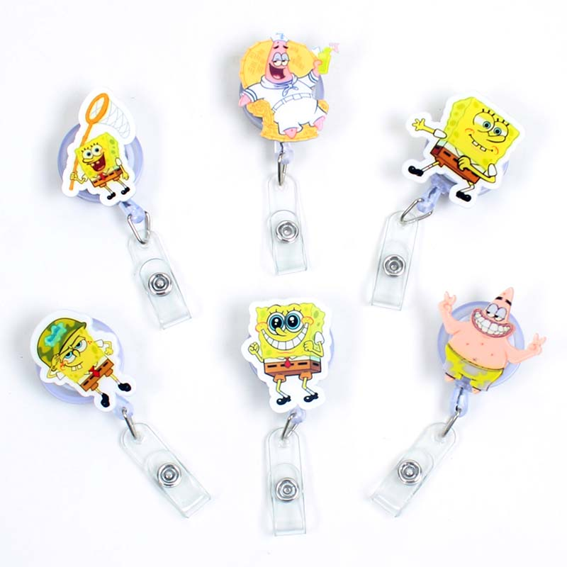1 Pc Creative Sponge Boy Acrylic Retractable Badge Reel Nurse Doctor Student Exhibition ID Card Clips Badge Holder Stationery
