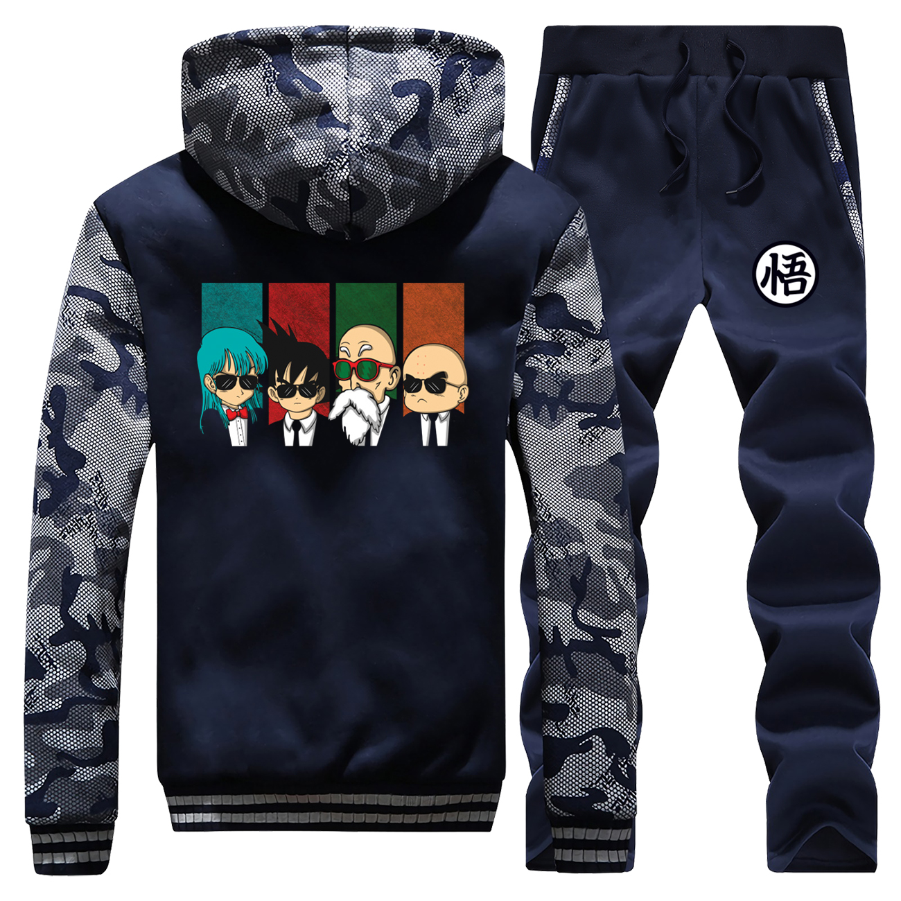 Dragon Ball Hoodies Pants Set Men Tracksuit Coat Master Roshi Japanese Anime  Winter Thick Fleece Jacket Plus Size 2 Piece Sets