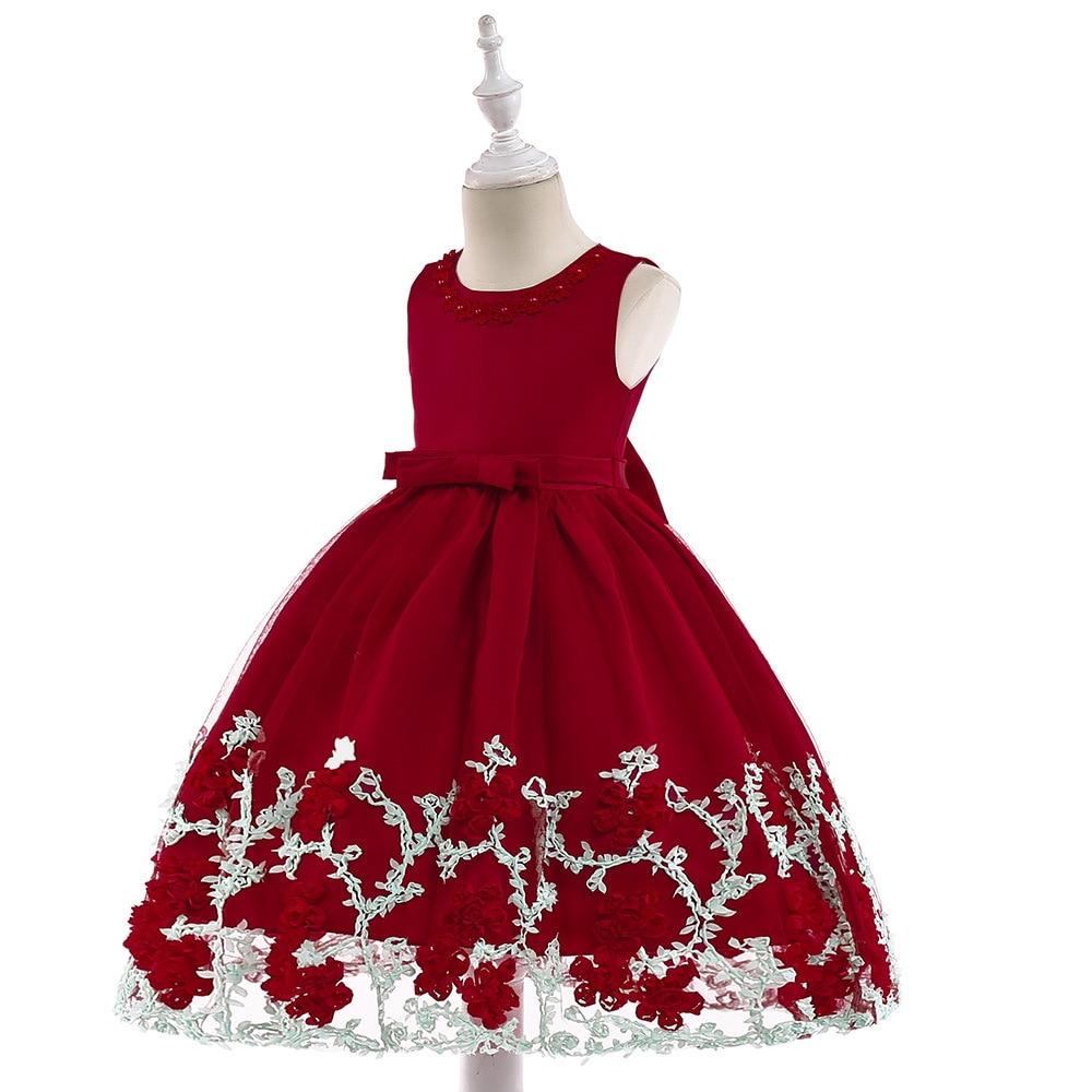 3-8T 2019 New Arrival Fashion Satin   Flower     Girl     Dresses   Floor Length Sleeveless Princess   Dress